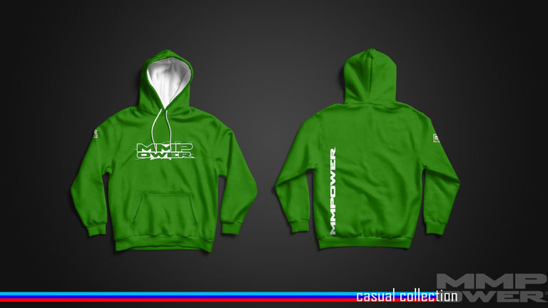 MMPower Özel Tasarım SweatShirt (Hoodie) Yeşil Beyaz Logolu