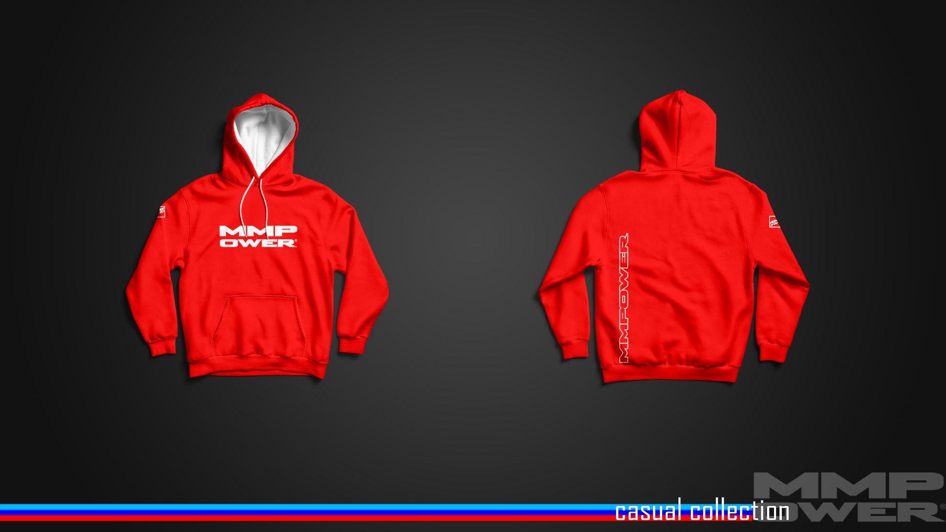 MMPower Özel Tasarım SweatShirt (Hoodie) Kırmızı Beyaz Logolu