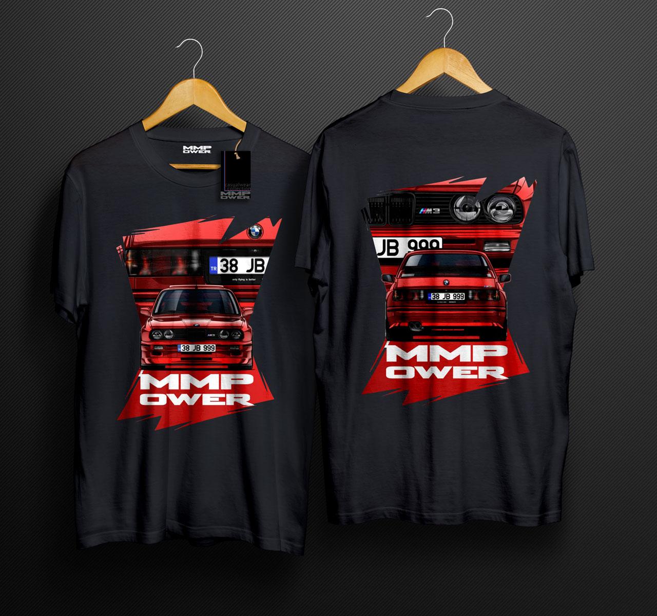 MMPower E30 M3 Karekter TShirt Siyah